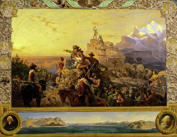 Pilgrimage Painting - Westward The Course Of Empire Takes Its Way, 1861 by Emanuel Gottlieb Leutze
