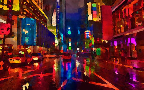 Digital Art - Wet City At Night Abstract  by Shelli Fitzpatrick