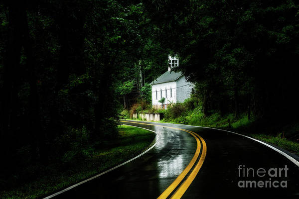 Photograph - Wet Country Road And Church by Thomas R Fletcher
