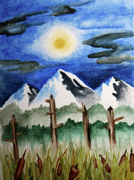 Painting - Wetlands With Mountains  by Robert Morin