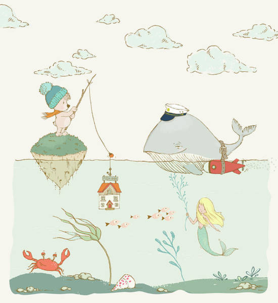 Painting - Whale And Bear In The Ocean Whimsical Art For Kids by Matthias Hauser