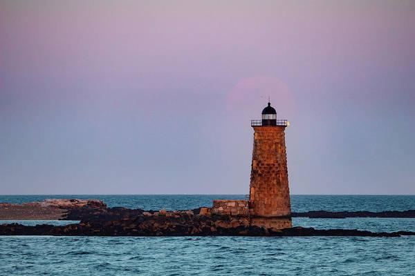 Photograph - Whaleback Lighthouse Full Moon Rising by Jeff Folger