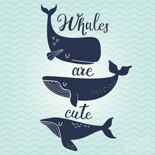 Wall Art - Digital Art - Whales Are Cute. Awesome Whales On by Smilewithjul