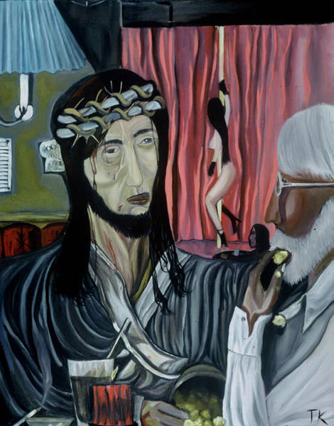 Painting - What Would Jesus Think by Tommervik