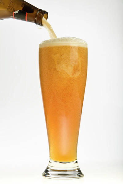 Beer Photograph - Wheat Beer Being Poured From Bottle by Kellie Walsh