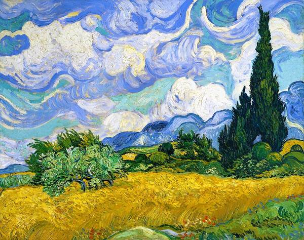 Felicitous Wall Art - Painting - Wheat Field With Cypresses - Digital Remastered Edition by Vincent van Gogh