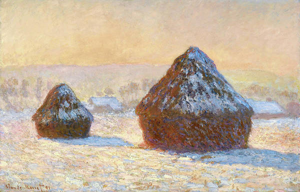 Wheat Painting - Wheatstacks, Snow Effect, Morning - Digital Remastered Edition by Claude Monet