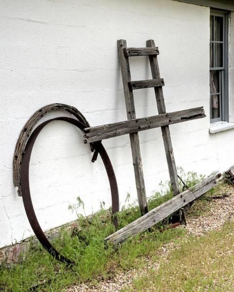 Photograph - Wheel Rim Window Wall by Jerry Sodorff