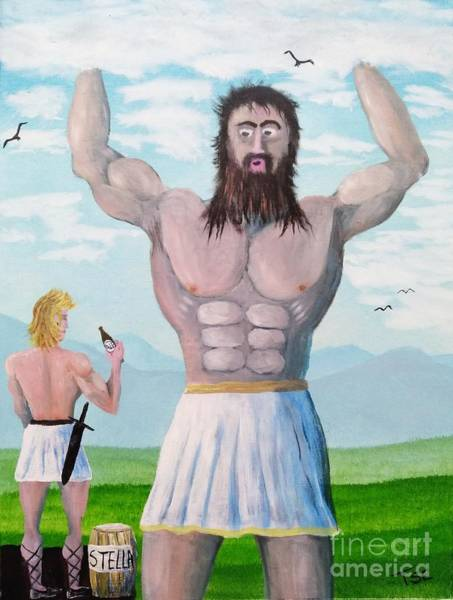 Wall Art - Painting - When Hercules Offered Beer To Atlas  by Tsc Channa