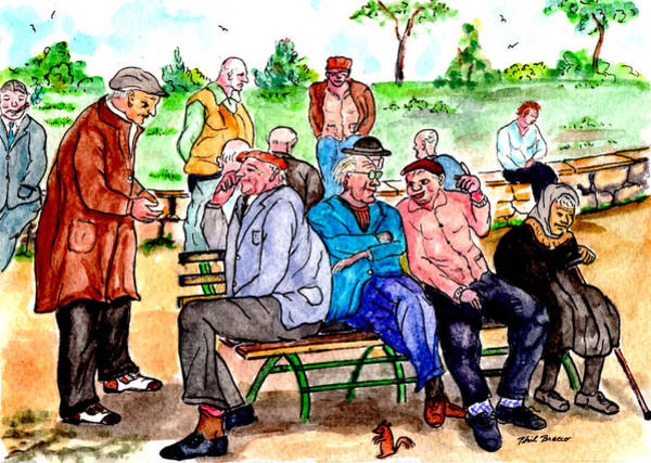 Painting - When Park Benches Were Filled With People by Philip Bracco