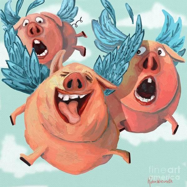 Wall Art - Digital Art - When Pigs Fly by Robin Wiesneth