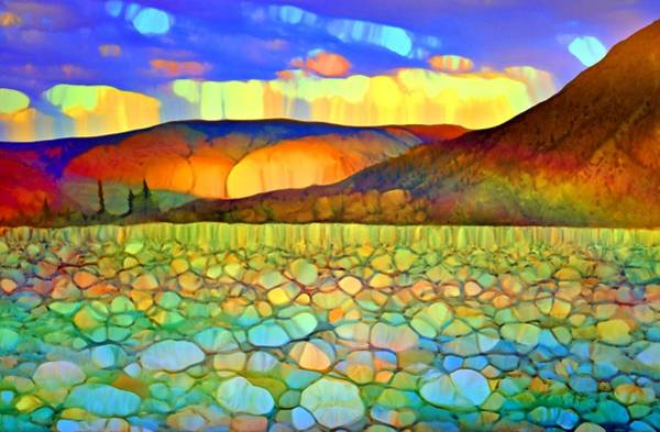 Wall Art - Digital Art - When The Sky Melts Over The Mountains by Tara Turner