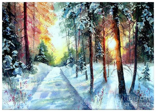 Birches Painting - When The Sun Goes Down by Suzann's Art