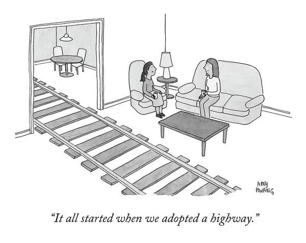 Train Track Drawing - When We Adopted A Highway by Amy Hwang