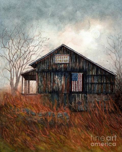 Pocono Mountains Wall Art - Painting - When You Come Home - Autumn Barn Flag  by Janine Riley