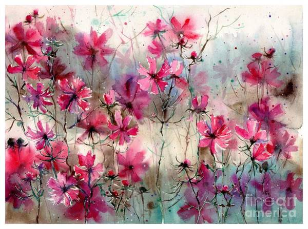 Field Of Flowers Wall Art - Painting - Where Pink Flowers Grew by Suzann's Art