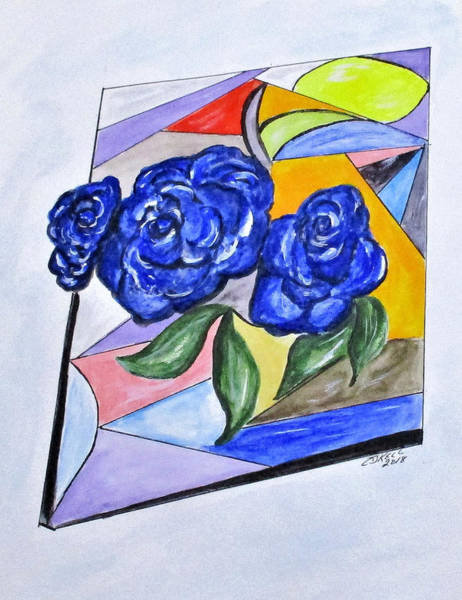 Painting - Whimsical Blue Roses by Clyde J Kell