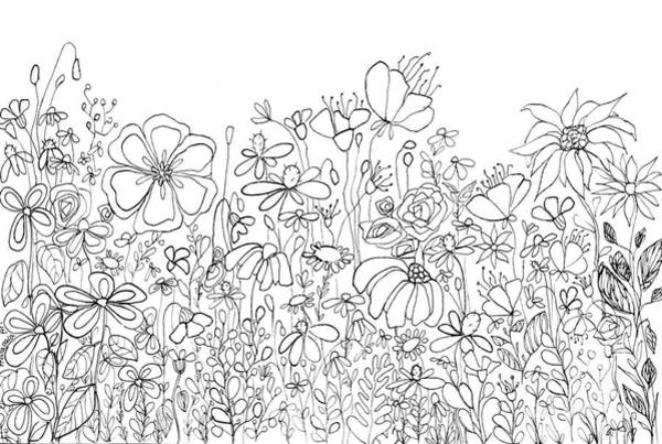 Drawing - Whimsical Flower Garden, Line Art Doodles by Patricia Awapara