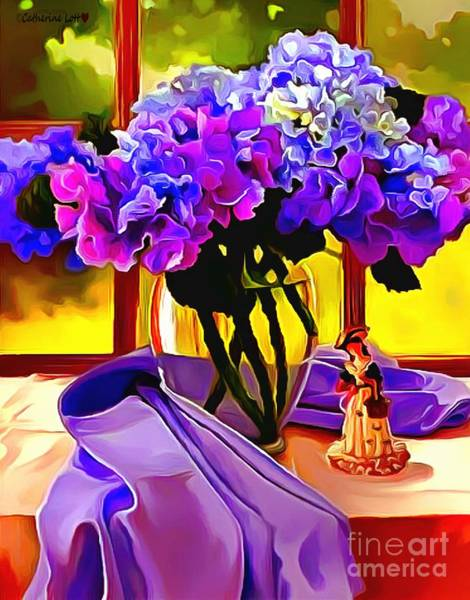 Painting - Whimsical Lavendar Floral Table Setting by Catherine Lott