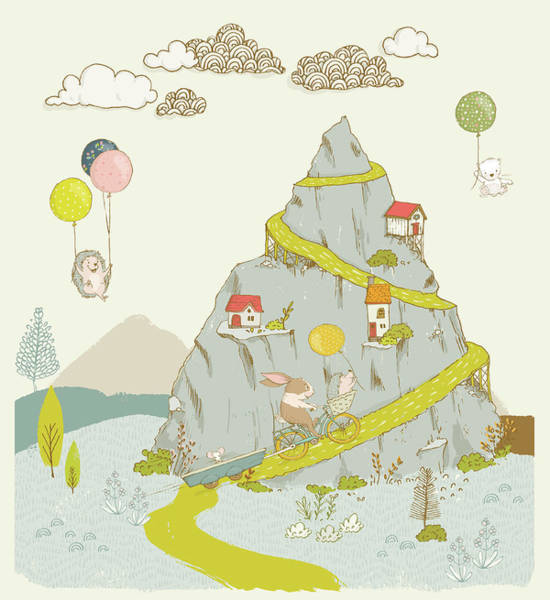 Painting - Whimsical Mountain And Animal Art For Kids by Matthias Hauser