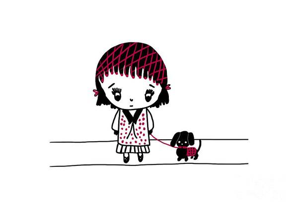 Digital Art - Whimsy Girl And Dog In Black And Red by Barefoot Bodeez Art
