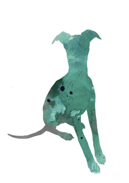 Wall Art - Painting - Whippet Teal Silhouette Sitting Facing Front by Joanna Szmerdt