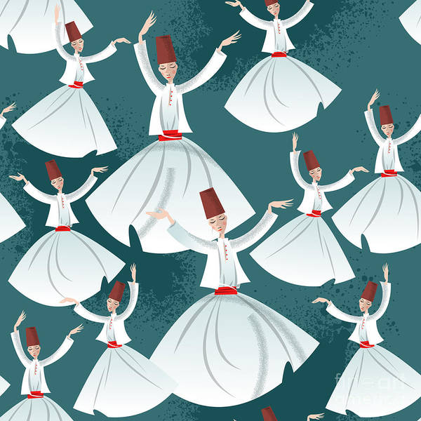 Wall Art - Digital Art - Whirling Dervishes. Seamless Background by Ngvozdeva