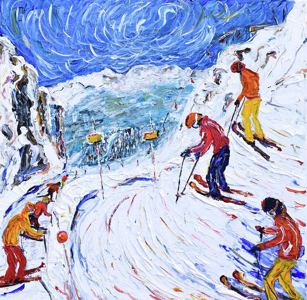 Painting - Whistler Bowl Ski Print by Pete Caswell