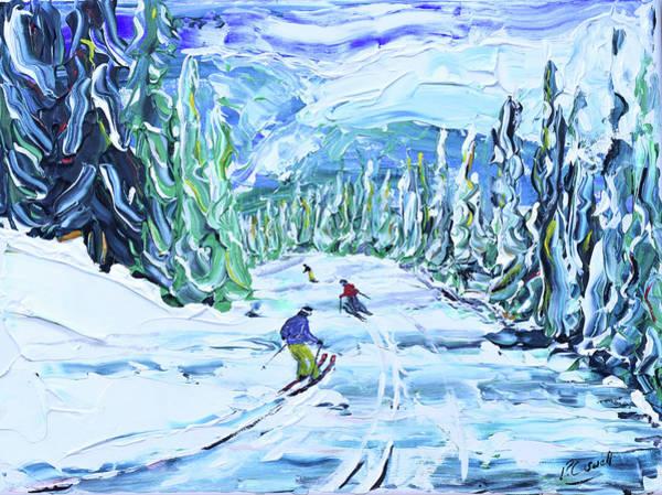 Painting - Whistler Ski Print Harmony Ridge . by Pete Caswell