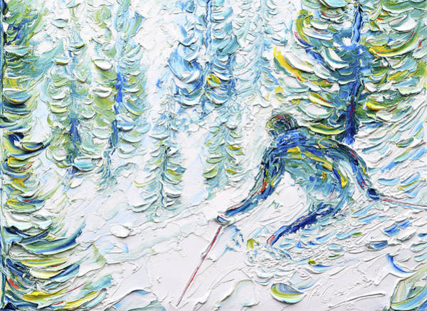 Painting - Whistler Ski Print In The Woods by Pete Caswell