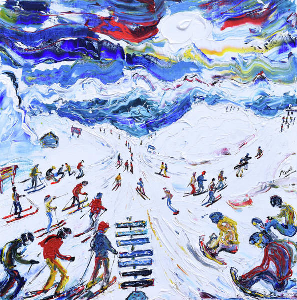 Painting - Whistler Ski Print Top Of Peak Express Chair by Pete Caswell