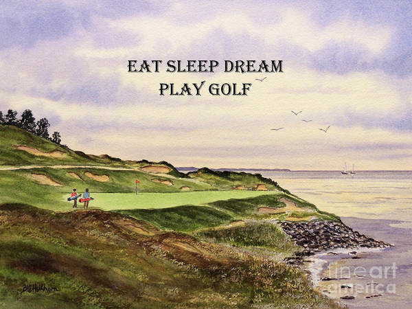 Wall Art - Painting - Whistling Straits Golf Course Hole 7 With Eat Sleep Dream Play Golf by Bill Holkham
