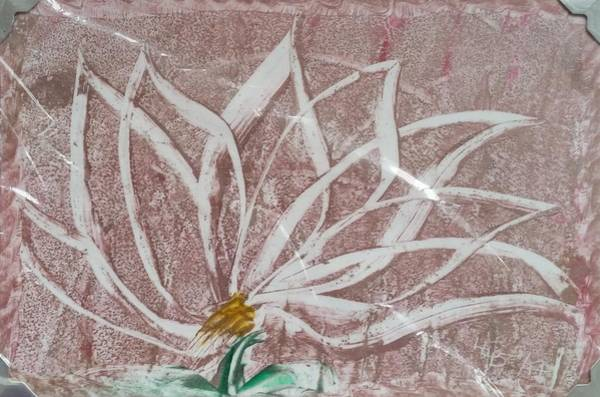 White Abstract Floral On Silverpastel Pink Art Print