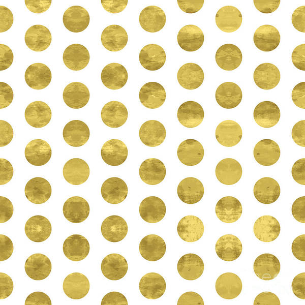 Repetition Wall Art - Digital Art - White And Gold  Pattern. Abstract by Lami Ka