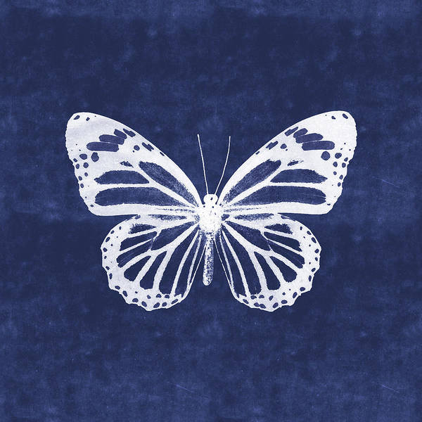 Wall Art - Mixed Media - White And Indigo Butterfly 3- Art By Linda Woods by Linda Woods