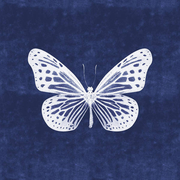Butterfly Wall Art - Mixed Media - White And Indigo Butterfly- Art By Linda Woods by Linda Woods
