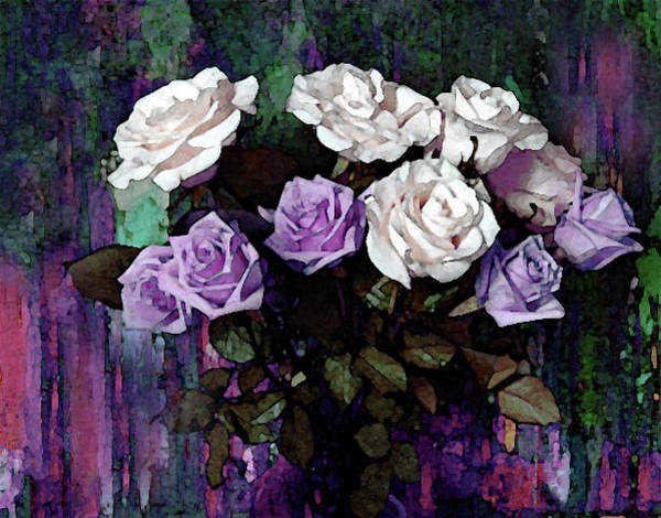Mixed Media - White And Lavender Rose Bouquet by Corinne Carroll