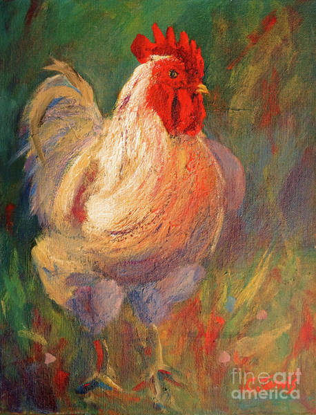 White And Red Chicken Against Green Art Print