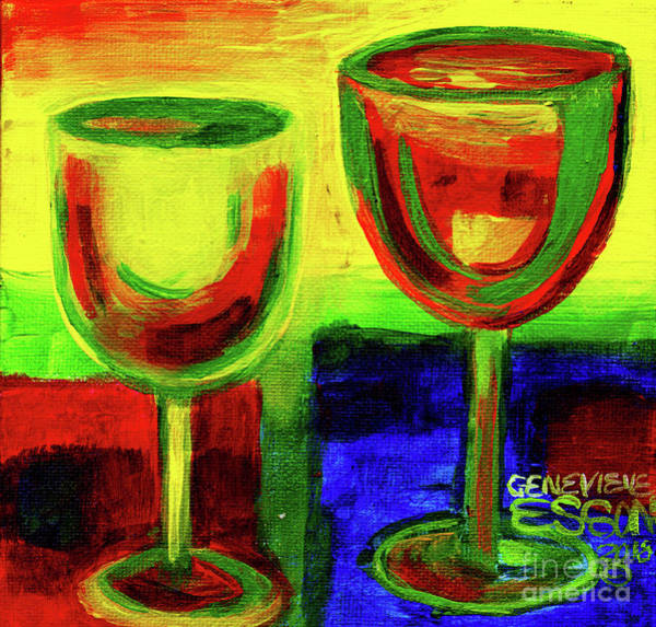 Wall Art - Painting - White And Red Wine Abstract by Genevieve Esson