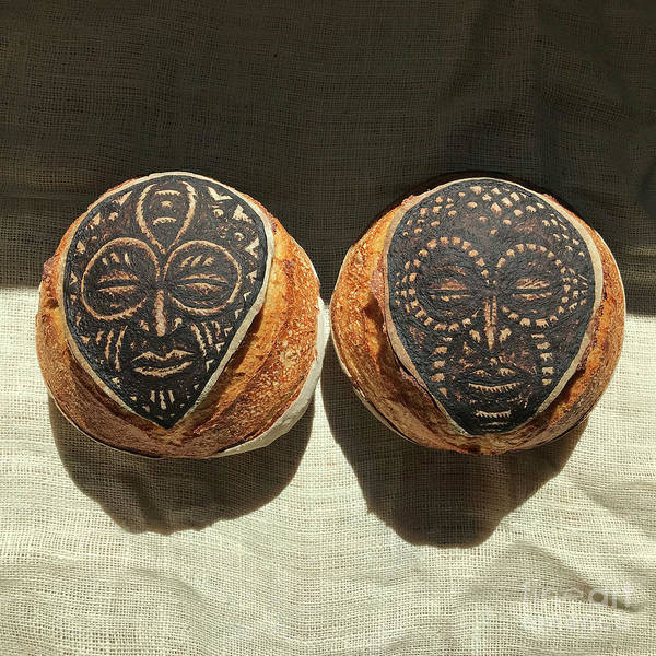 Wall Art - Photograph - White And Rye Sourdough. African Mask Interpretation. Hand Painted. 1 by Amy E Fraser