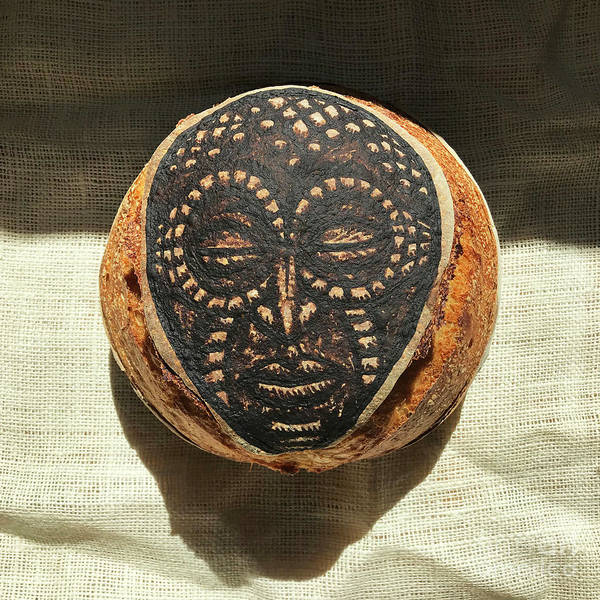 Wall Art - Photograph - White And Rye Sourdough. African Mask Interpretation. Hand Painted. 2 by Amy E Fraser