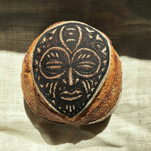 Wall Art - Photograph - White And Rye Sourdough. African Mask Interpretation. Hand Painted. 3 by Amy E Fraser