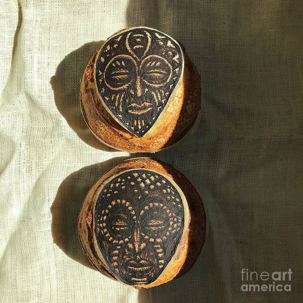 Wall Art - Photograph - White And Rye Sourdough. African Mask Interpretation. Hand Painted. 4 by Amy E Fraser