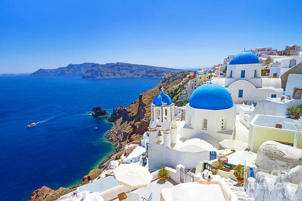 White Architecture Of Oia Village On Art Print by Patryk Kosmider
