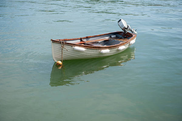 Photograph - White Boat On Calm Water by Helen Northcott