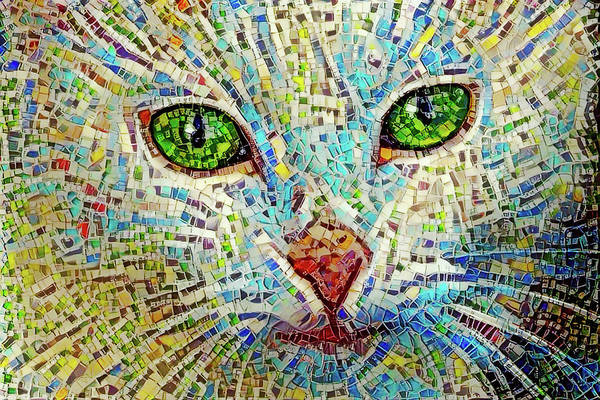 Digital Art - White Cat Mosaic by Peggy Collins
