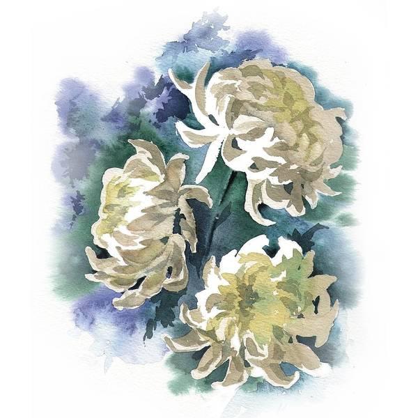 Painting - White Chrysanthemum Flowers by Ina Petrashkevich