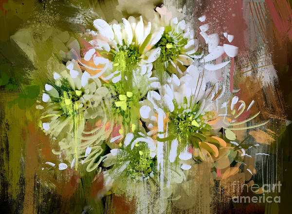 Oil Digital Art - White Chrysanthemum Flowers,abstract by Tithi Luadthong