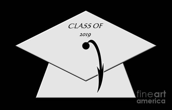 Digital Art - White Class Of 2019 Graduation Cap by Rose Santuci-Sofranko