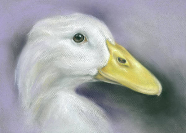 Pastel - White Duck On Purple by MM Anderson